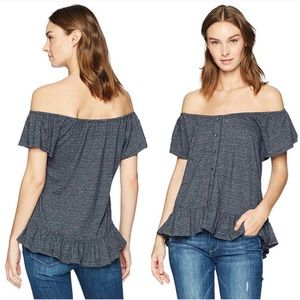• LUCKY BRAND • blue off the shoulder blouse